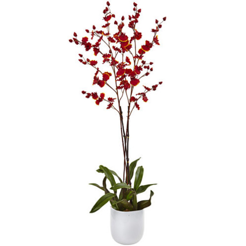 Nearly Natural Dancing Orchid w/White Glass Vase