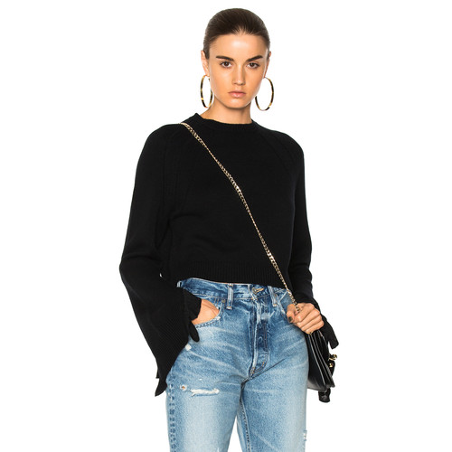 HELMUT LANG Cropped Ruffle Pullover Sweater In Black
