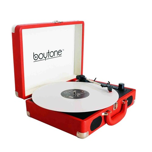 Boytone 970101601M Exclusive Mobile Briefcase Bluetooth Turntable in Red