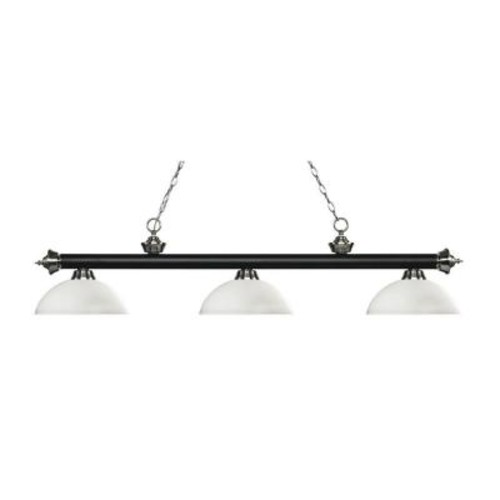 Filament Design Gossett 3-Light Matte Black and Brushed Nickel Island Light with Matte Opal Glass Shades
