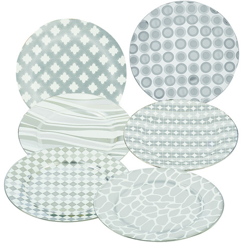 18940675 Certified International Elegance Silver Plated 8-inch Tapered Dessert Plate with Assorted Designs (Pack of 6)