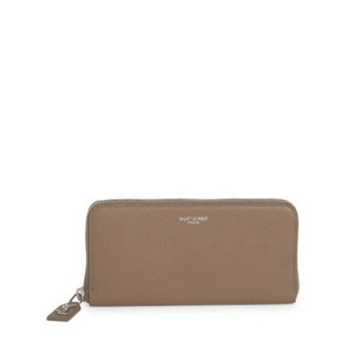 SAINT LAURENT Leather Continental Zip Wallet