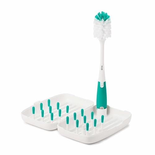 OXO Tot On-the-Go Travel Drying Rack with Bottle Brush [Green, Travel Drying Rack]