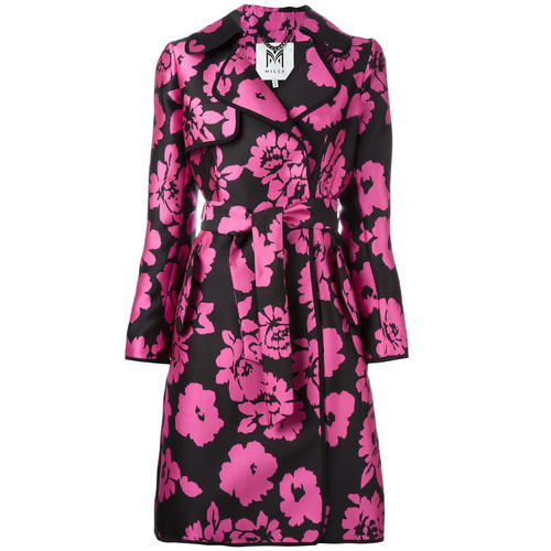 MILLY Floral Print Trench Coat