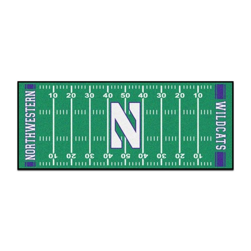 FANMATS NCAA - Northwestern University Green 2 ft. 6 in. x 6 ft. Indoor Football Field Runner Rug