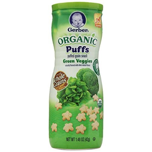 Gerber Organic Puffs Cereal Snack, Green Veggies, Naturally Flavored with Other Natural Flavors, 1.48 Ounce, 6 Count [Organic Green Veggies, 6 Count]