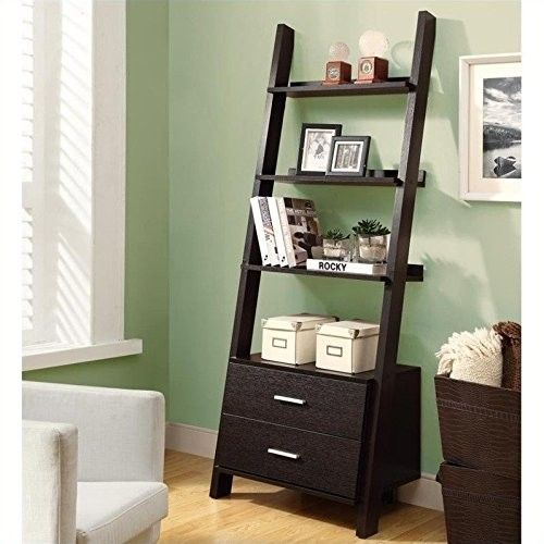 Monarch Specialties Ladder Bookcase with Two Storage Drawers, 69-Inch, Cappuccino