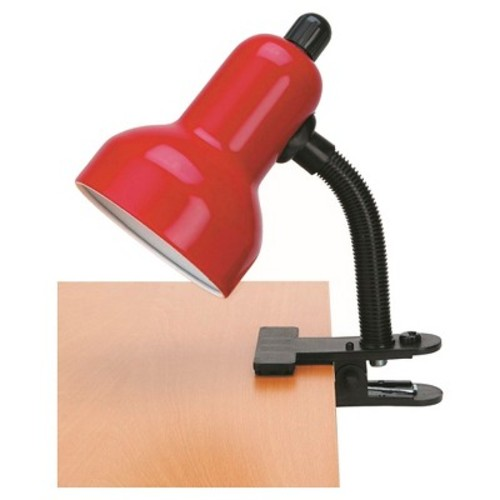 Lite Source Clip-On 1 Light Table Lamp with Red Shade - Black