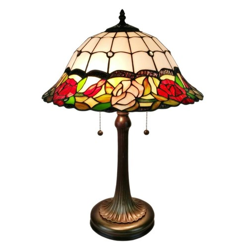 Amora Lighting 23 in. Tiffany Style Floral Finish Table Lamp