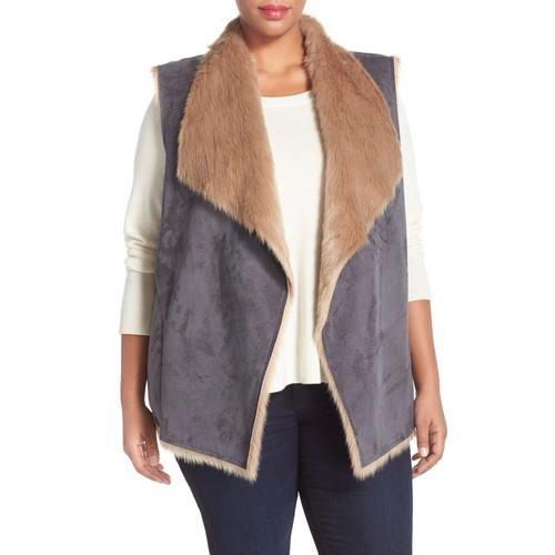 Drape Front Faux Shearling Vest (Plus Size)