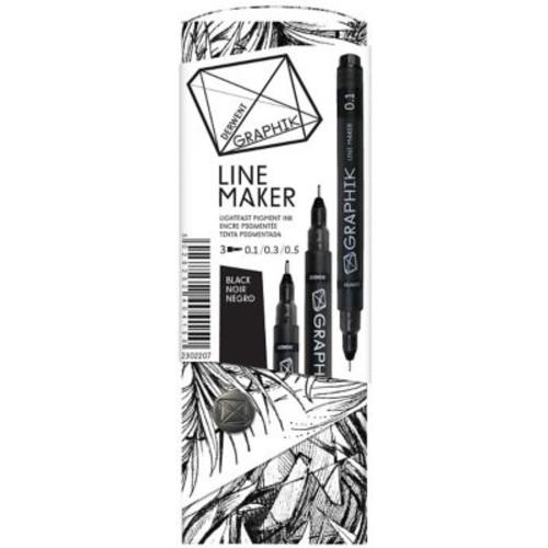 Reeves Graphik Line Maker Set, Black, 3/Pack