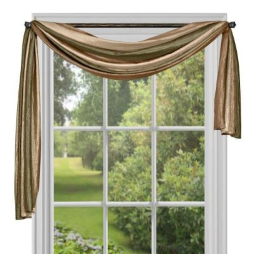 Achim Semi-Opaque Ombre Polyester 50 in. W x 144 in. L Scarf Curtain in Earth