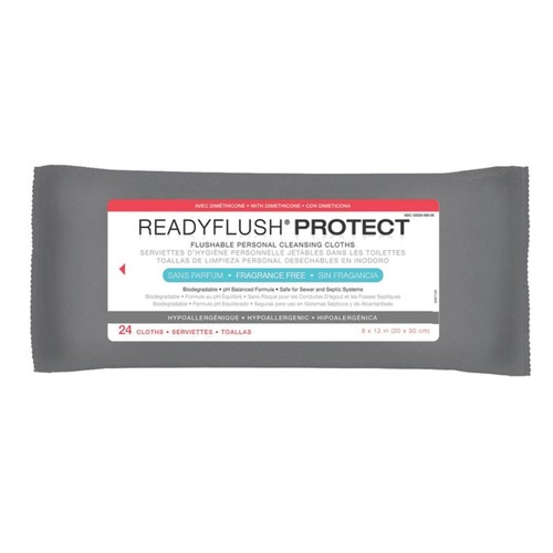 ReadyFlush Biodegradable Flushable Wipes, Unscented, 8