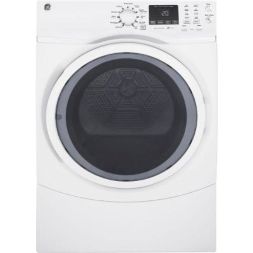 GE 7.5 cu. ft. 120 Volt White Stackable Gas Vented Dryer with Steam
