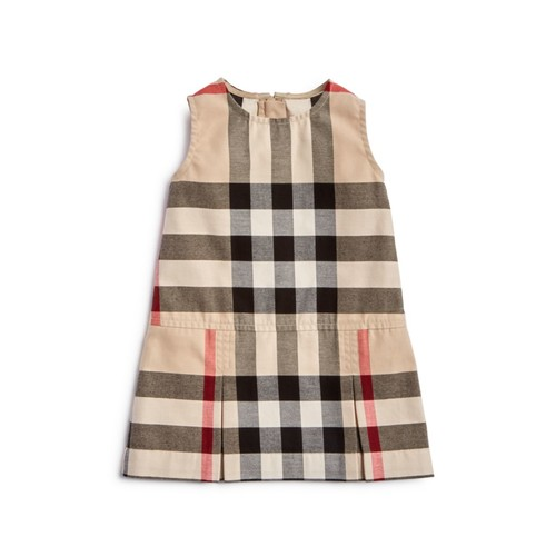 BURBERRY Girls' Pleated Check Dress - Baby