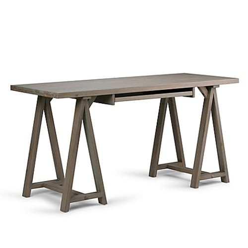 Simpli Home Sawhorse 60-Inch Desk in Distressed Grey