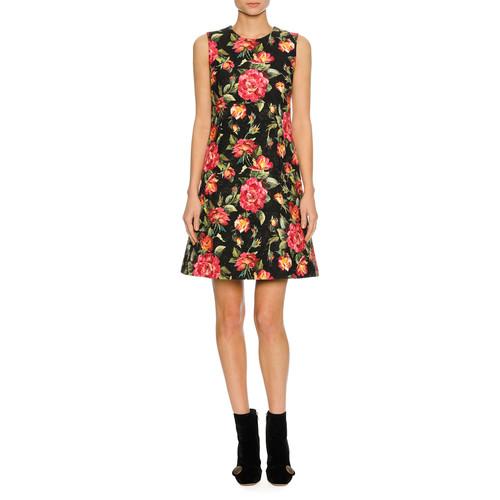 DOLCE & GABBANA Sleeveless Macro Rose-Print Dress, Black Pattern