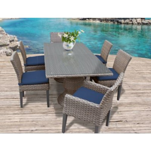 TK Classics Oasis 7 Piece Dining Set w/ Cushions; White