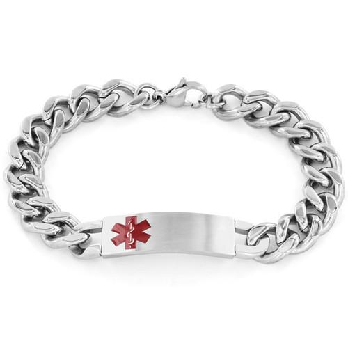 Men's Stainless Steel Curb Link Medical ID Bracelet