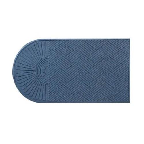HomeTrax Designs Guzzler Sunburst Slate Blue 34 in. x 72 in. Rubber-Backed Door Mat