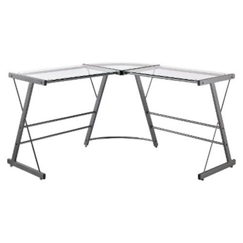 Altra Furniture - Altra Furniture Glass L-Shaped Computer Desk - Black
