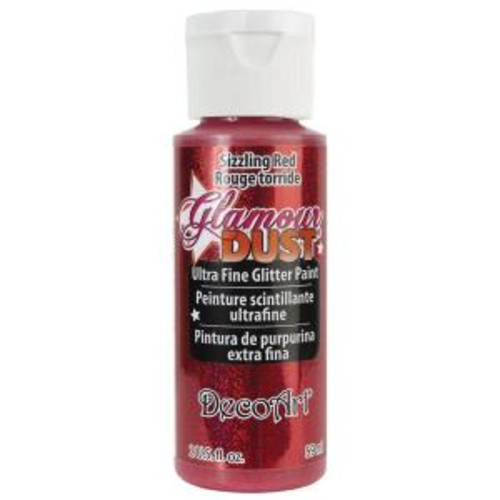 DecoArt Glamour Dust 2 oz. Sizzling Red Glitter Paint
