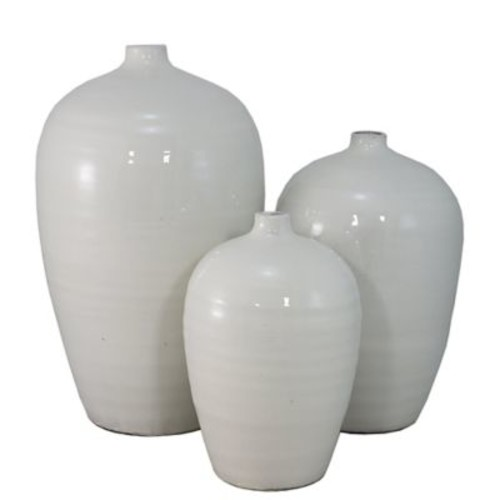 Brayden Studio 3 Piece White Table Vase Set