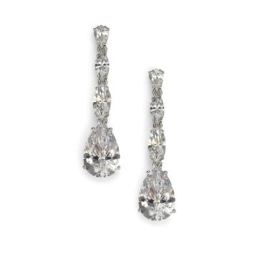 Sterling Silver Pear Drop Linear Earrings