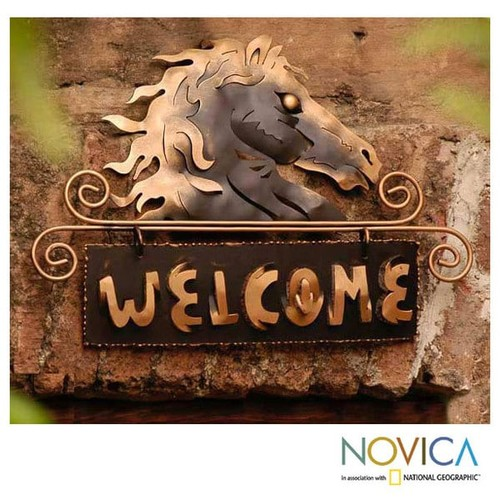 Golden Horse Indoor Outdoor Garden or Patio Brown and Gold Equine Rustic Decor Accent Animal Metal W - Iron welcome sign, 'Golden Horse Welcome' (Mexico)