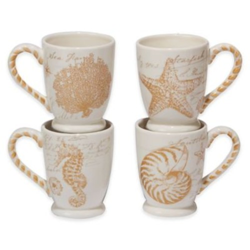 Certified International Coastal Discoveries Mugs in Ivory/Gold (Set of 4)