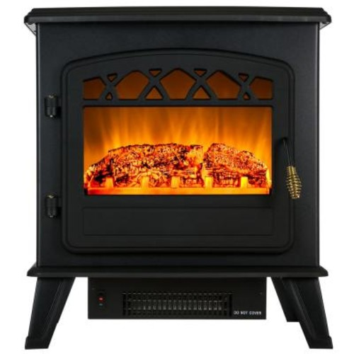 AKDY 20 in. Freestanding Electric Fireplace Stove Heater in Black with Vintage Glass Door Realistic Flame and Logs