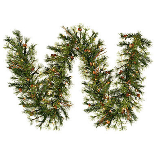 Vickerman 9' Mixed Country Pine Christmas Garlandwith 100 Warm White LED Lights