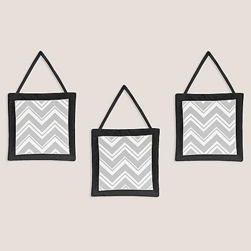 Sweet Jojo Designs Zig Zag 3-Piece Wall Hanging Set in Grey/Black