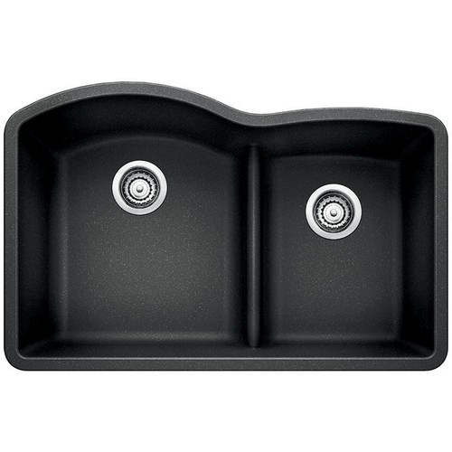 Blanco Diamond Undermount Granite Composite 32 in. 70/30 Double Bowl Kitchen Sink in Anthracite