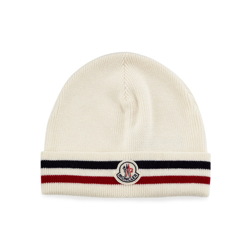 MONCLER Striped Logo Cashmere Beanie Hat, White