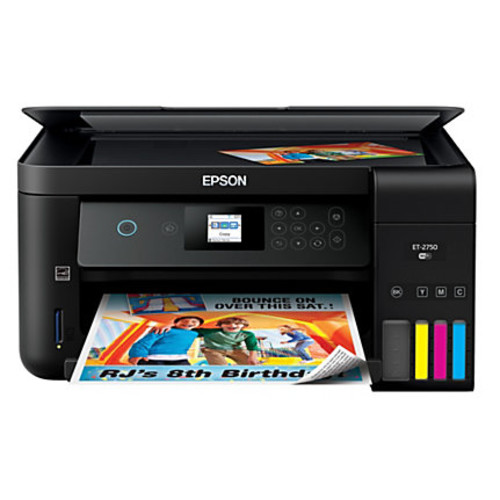Epson Expression ET-2750 EcoTank Wireless Color Inkjet All-In-One Printer, Copier, Scanner, C11CG22201