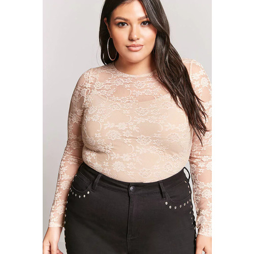 Plus Size Sheer Lace Bodysuit