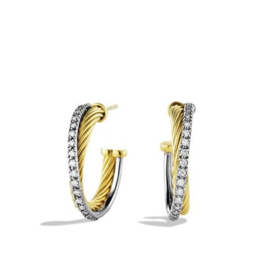 Crossover Small Hoop Earrings with Diamonds in G