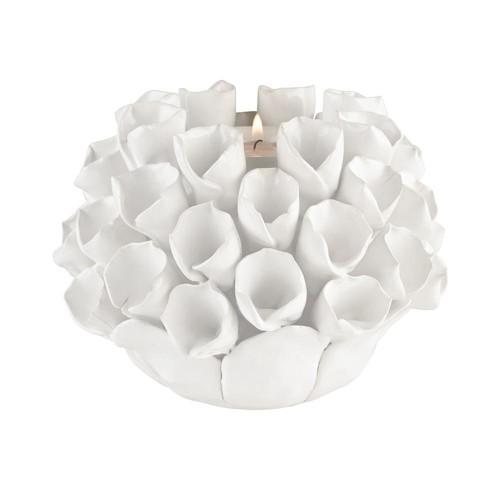 Titan Lighting White Ceramic Bud Candle Holder