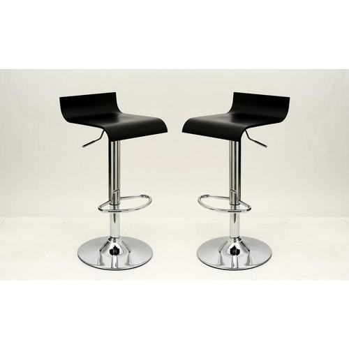 Manhattan Comfort Practical Ludlow Black Barstool with Height Adjustability (Set of 2)