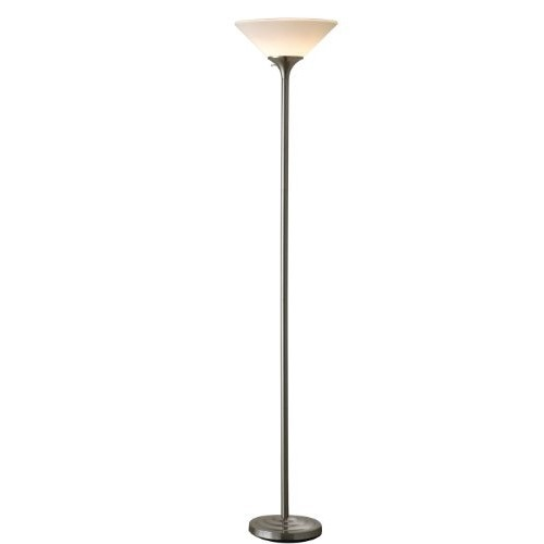 Normande Lighting 13W CFL Torchiere Lamp, Brushed Steel