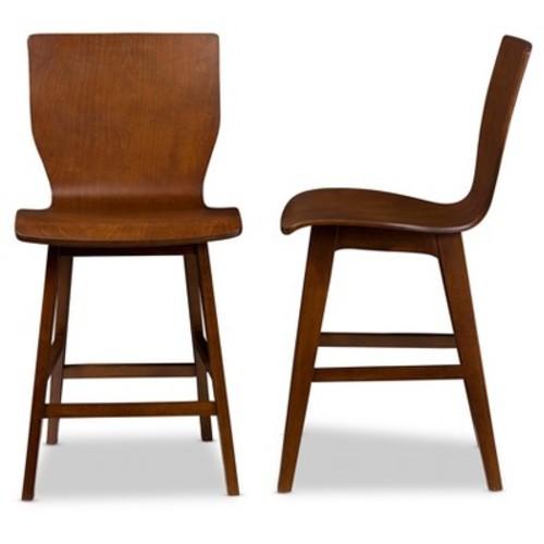 Baxton Studio Elsa Medium Brown Finished Wood 2-Piece Counter Stool Set
