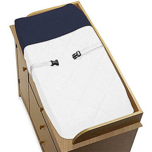 Sweet Jojo Designs Hotel Changing Pad Cover in White/Navy