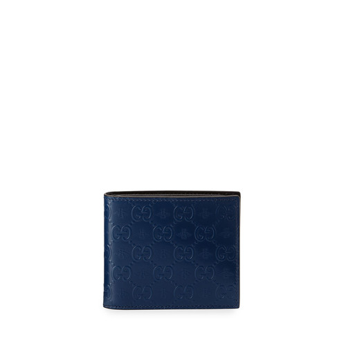 GUCCI Alveare Gg Leather Bi-Fold Wallet, Blue