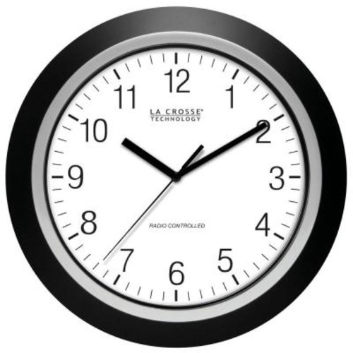 La Crosse Technology 14 in. Round Analog Black Frame Wall Clock
