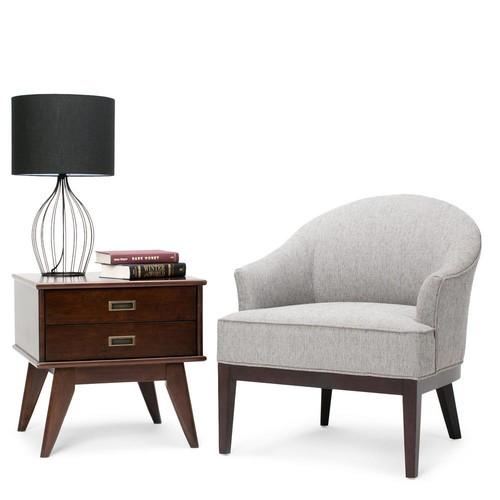 Simpli Home Louise Grey Fabric Arm Chair