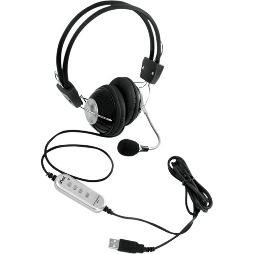 Pyle Home PHPMCU10 Multimedia/Gaming USB Headset with Noise-Canceling Microphone [Silver/Black]