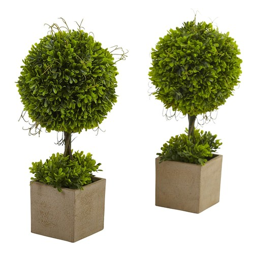 nearly natural Artificial Boxwood Topiary 2-piece Set