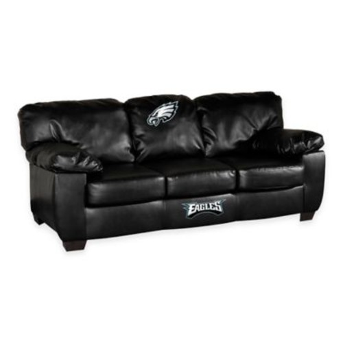 NFL Philadelphia Eagles Black Leather Classic Sofa