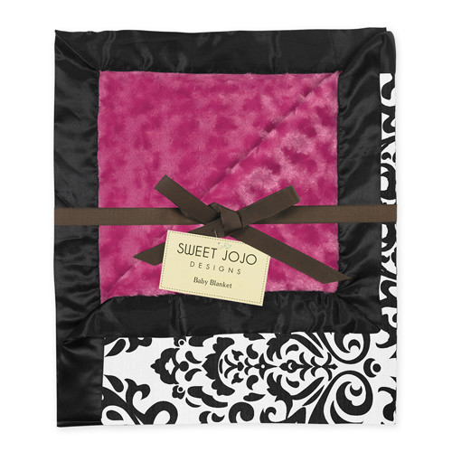Sweet Jojo Designs Hot Pink, Black and White Isabella Collection Baby Blanket
